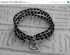 SALE Triple Wrap bracelet in black with by EgyptianInspirations, $28.79