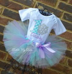 Winter ONEderland Aqua Dot and Lilac Snowflake Birthday Tutu Outfit...www.ticklemytutu.com