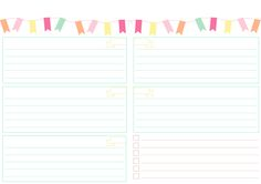Fiber & Paper: Printable Freebie, Colourful Banners A5, Landscape.  Week on 1 page.