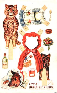 Red Riding Hood Louis Wain Paper Dolls