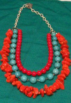 Imitation gemstone with silver chain - A$25.00