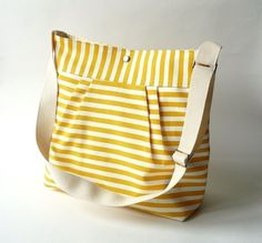 Water Resistant /STOCKHOLM Yellow and White XL French Messenger-8 Pockets. Love this color yellow!!
