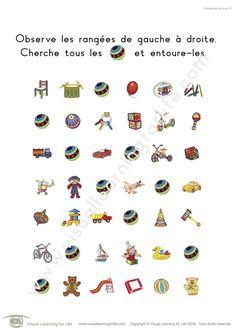 Dans les fiches de travail « Recherche de jouet » l'élève doit trouver 10 jouets identiques à ceux de l'exemple en haut de la page.