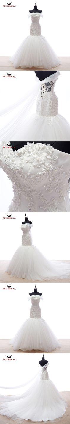 Wedding Dresses Mermaid Sweetheart Tulle Lace Beading Sexy Romantic Robe De Mariee Bridal Wedding Gown 2018 New Custom Size XJ38