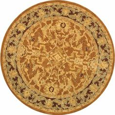 Old World Hand-spun Brown Gold/ Plum Wool Rug (4' Round)   Overstock.com