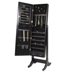 Best+Choice+Products+Mirrored+Jewelry+Cabinet+Armoire,+Black