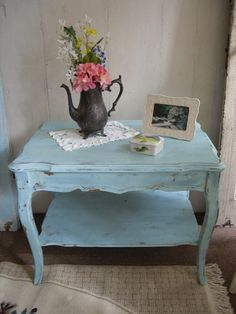 Painted Coffee Table 2 Tier Shabby Chic Distressed Furniture Home Decor