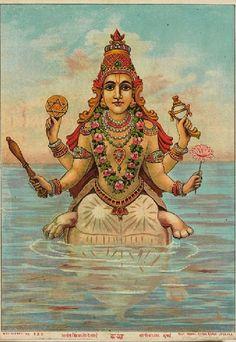 Kaccha, the turtle incarnation of Vishnu. Mumbai (place of creation). Date late 19th - early 20th century (1871 - 1930). Artist/maker after Raja Ravi Varma (1848 - 1906), Ravi Varma Press (active late 19th century - early 20th century) (printmaker)