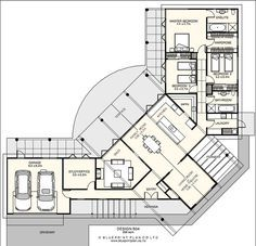 U shaped house. Dramatic entry and living spaces, lovely outdoor flow Dream House Plans, Modern House Plans, Small House Plans, House Floor Plans, Home Design Plans, Plan Design, Building Design, Building A House, L Shaped House