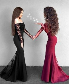 Mermaid Off the Shoulder Sweep Train Black Prom Dress with Lace, modest burgundy mermaid prom dresses with sleeves, gorgeous black off the shoulder evening dresses with lace #promdress