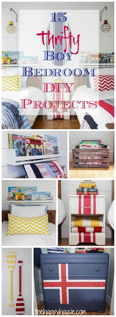 15 thrifty and easy boy bedroom DIY projects so you can give your boys a fabulous bedroom on an amazing budget at thehappyhousie.com