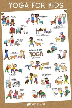 Classroom Yoga for Kids was designed with your school setting in mind: no yoga mats or ge Kids Yoga Poses, Kid Poses, Yoga For Kids, Exercise For Kids, Mindfulness For Kids, Mindfulness Activities, Animal Yoga, Childrens Yoga, School Sets