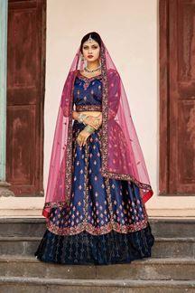 India's leading lehenga choli store offers the online shopping of designer lehenga choli. Grab the satin embroidered, patch border and resham work navy blue lehenga choli. Sabyasachi Lehenga Bridal, Bollywood Lehenga, Silk Lehenga, Anarkali Bridal, Lehenga Skirt, Indian Bollywood, Navy Blue Lehenga, Lehenga Choli Online, Costumes