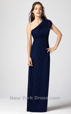 Dessy.com - Chiffon navy blue bridesmaid dress - nice because it looks a teeny bit greek
