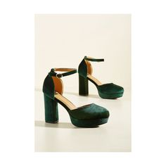 Rockabilly Go With the Stride Velvet Heel ($55) ❤ liked on Polyvore featuring shoes, pumps, ankle strap heel, green, heels, block heel court shoes, platform shoes, platform heels pumps, velvet platform shoes and rockabilly shoes