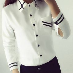 Aliexpress.com: Comprar Blusas de Las Señoras OL de Las Mujeres Elegantes 2016 de Otoño Estilo Coreano de Manga Larga Con Lentejuelas Gasa de Las Señoras de Oficina Camisa Blanca Azul Tops Formales de camisas y blusas para las mujeres fiable proveedores en feel_beauty