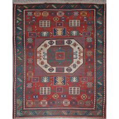 Karachopf Kazak Rug  -  Southwest Caucasus, late 19th century -  The central rectangular medallion flanked by stylized rosettes on the madder field is within a jade serrated leaf and calyx border. Approximately 6 feet 11 inches x 5 feet 9 inches.