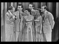 """The Skylarks singing the upbeat """"Save Your Sorrow"""" on the George Burns and Gracie Allen Show , early 1950's. Gilda Maiken, the blonde woman on the right, co-founded """"Society of Singers"""" with Ginny Mancini, formerly of The Meltones and The Mellolarks."""