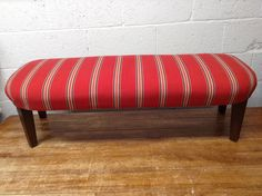 Newly reupholstered stripey long stool, ottoman, perfect for in front of your sofa, or at the end of your bed. by CarianInteriors on Etsy New England Style, Hessian, Striped Fabrics, Stools, 1930s, Red And Blue, Ottoman, Sofa, Colours