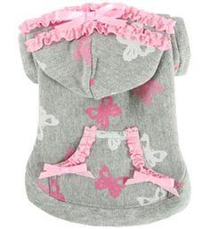 Dog Hoodie Pink Butterflies Sweatshirt