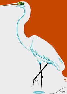 Garça Pescador - Ilustração http://www.souzaarte.com/#!/cnfd