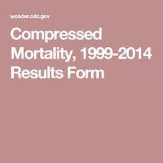Compressed Mortality, 1999-2014 Results Form