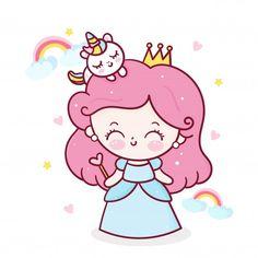 Angel Cartoon, Cartoon Unicorn, Cute Unicorn, Cute Little Drawings, Art Drawings For Kids, Cute Kawaii Drawings, Kawaii Art, Princess Cartoon, Cute Princess