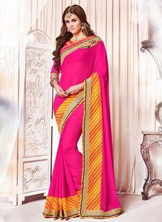 Shop Online Magenta Georgette #CasualSaree @Chennaistore.com