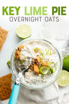 Tangy and sweet, these Key Lime Pie Overnight Oats are like eating your favorite pie for breakfast! Overnight oats are the perfect meal prep breakfast. Key Lime Pie, Oats Recipes, Cooking Recipes, Cooking Tips, Healthy Breakfast Recipes, Healthy Recipes, Overnight Oats With Yogurt, Overnight Oatmeal, Clean Eating