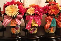 Administrative Professionals Day. Mason jars Filled with binder clips, paper clips, pens, etc
