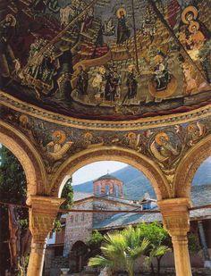 Greek-Orthodox Monastery Megisti Lavra (Μονή Μεγίστης Λαύρας) on holy Mount Athos in Hellas (UNESCO World Heritage)