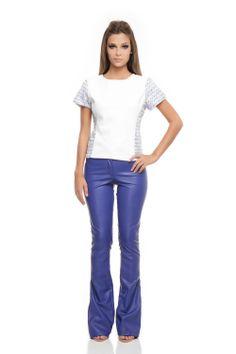 Calça Couro Zíper Azul Cobalto - roupas-calcas-calca-couro-ziper-azul-cobalto Iorane