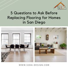 If you live in San Diego, CA, and need a new floor for your house, you must know your options. Here are questions to ask before replacing flooring in homes.  Did you know 9 out of 10 homeowners have plans to remodel their house?  With so many people wanting to remodel their homes, one of the big things many people are interested in doing is replacing flooring. Replacing flooring is a big deal and makes a home look totally different.   Read more: Architecture Facts, Questions To Ask, This Or That Questions, San Diego Living, Home Look, Fun Facts, Homes, Flooring, How To Plan
