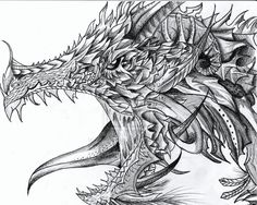 detailed animal drawings to color - Bing Images Realistic Dragon Drawing, Cool Dragon Drawings, Chinese Dragon Drawing, Dragon Sketch, Dragon Artwork, Cartoon Dragon, Funny Dragon, Cartoon Drawings, Animal Drawings