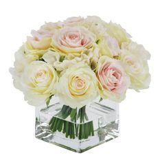 Winward Silks Rose Bouquet in Square Vase Floral Arrangements Flower Color: Pink White Faux Flowers, Silk Flowers, Colorful Flowers, White Rose Bouquet, Silk Flower Bouquets, Square Glass Vase, Rose Centerpieces, Centrepieces, Rose Arrangements