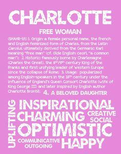CHARLOTTE Personalized Name Print / Typography by OhBabyNames