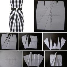 Dress Design Patterns, Pattern Design Drawing, Dress Making Patterns, Corset Sewing Pattern, Skirt Patterns Sewing, Clothing Patterns, Drape Skirt Pattern, Pattern Draping, Pattern Library