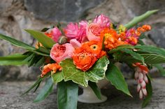 Pink ginger, pink roses, orange ranunculus.