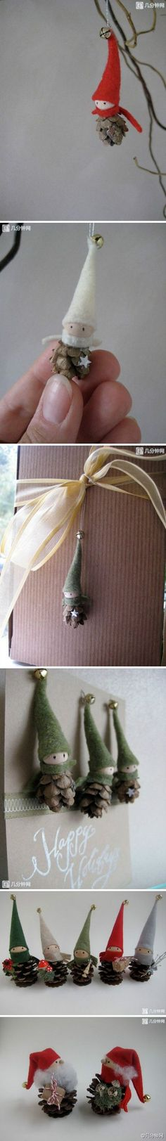 Elves from pinecones. omfg I love them.... don't be surprised if these reappear on your xmas gifts this year :)