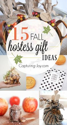 15 Fall Hostess Gift Ideas. Great gift ideas for giving to friends or the host of your Thanksgiving dinner! Capturing-Joy.com