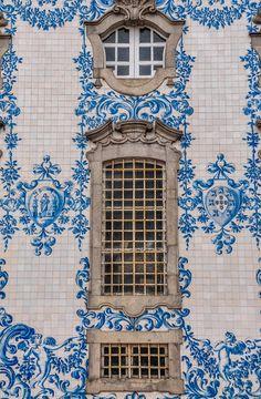 Painted tile façade in Porto, Portugal azulejos vintage old pattern bleu blue cobalt white Beautiful World, Beautiful Places, Portuguese Tiles, Portuguese Culture, Spain And Portugal, Portugal Travel, Porto Portugal, Windows And Doors, Church Windows