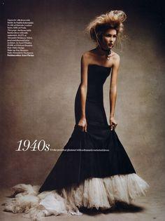 Still amazing. Vogue UK Dec. 2005 by Patrick Demarchelier. Alexander McQueen dress