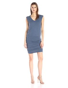 VELVET BY GRAHAM and SPENCER Women's Cotton Slub Ruched Skirt Dress >>> Additional details at the pin image, click it  : Women clothing