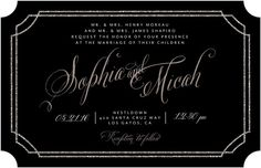 Sparkling Affair - Signature White Wedding Invitations - Elm and Gray - Black : Front