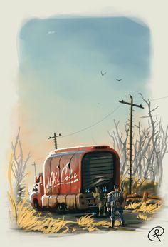 Nuka Cola truck, Fernando Correa on ArtStation at https://www.artstation.com/artwork/JkAZZ