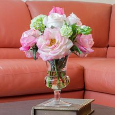 Just posted on Houzz - Real Touch Orlane Rose Bud Cabbage Glass Vase Artificial Faux Arrangement