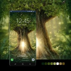 Magic Forest, Forest Fairy, Samsung Galaxy Wallpaper, Fairy Tree, Forest House, Green Trees, Treehouse, Galaxy Note, Digital Art
