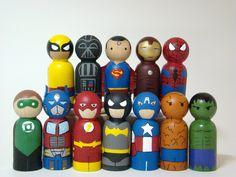 Small Superhero -  Choice of Any TWO Wood Peg. $20.00, via Etsy.