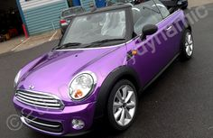 Mini convertible wrapped in vinyl.wrapping is a thing that crazy car people do to protect their real finish.like putting plastic covers on furniture! But the color is fun. Purple Home, Plum Purple, Shades Of Purple, Lilac, Purple Cars, Purple Stuff, All Things Purple, Car Paint Colors, Lavender Room