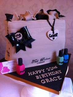 My first bag cake - Ted Baker Bowcon Cake by CupcakeCrumbs 17 Birthday Cake, 17th Birthday, Baker Cake, Plain Cake, Ted Baker Bag, Cupcake Cookies, Cupcakes, One Bag, Sugar Art